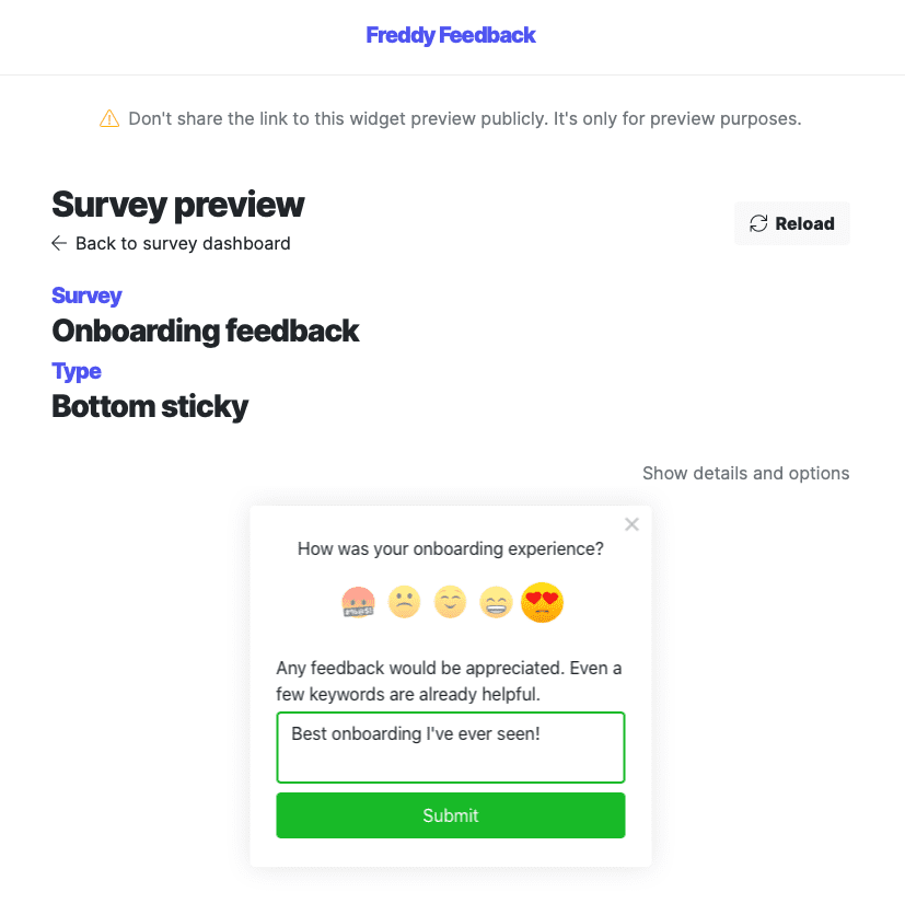 Survey preview page