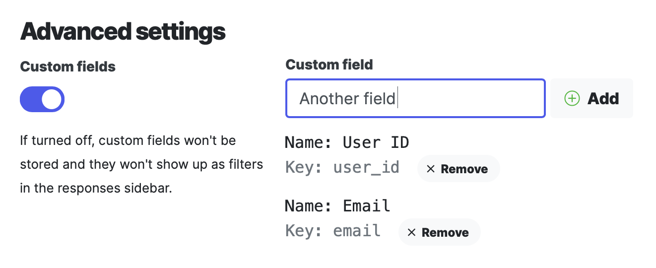 Custom Fields settings
