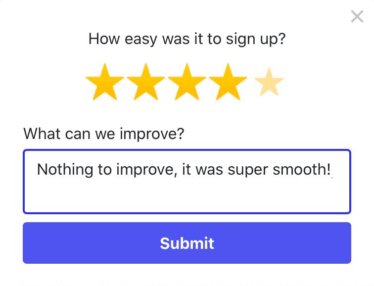 Freddy Feedback onboarding feedback example - 5 star survey