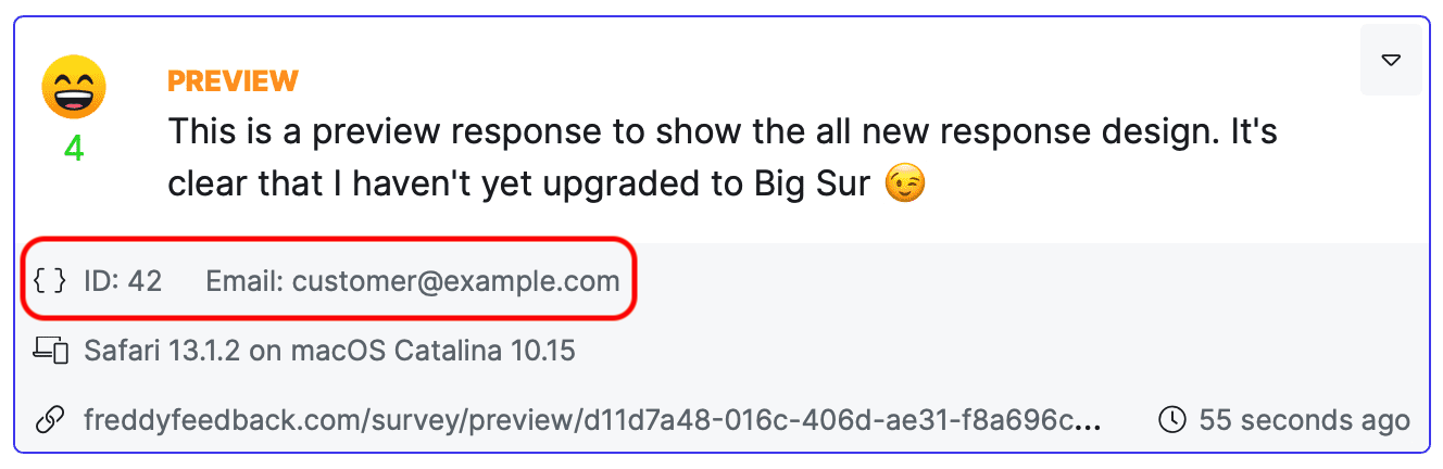 Customer feedback response with custom fields