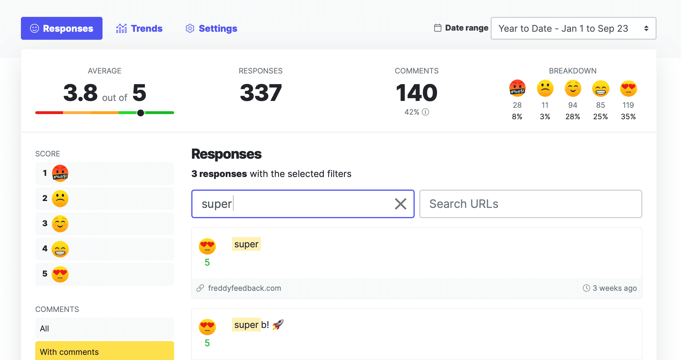 Emoji survey dashboard