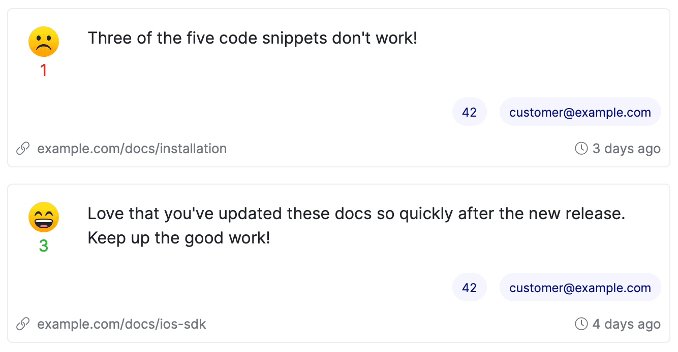 Feature feedback examples